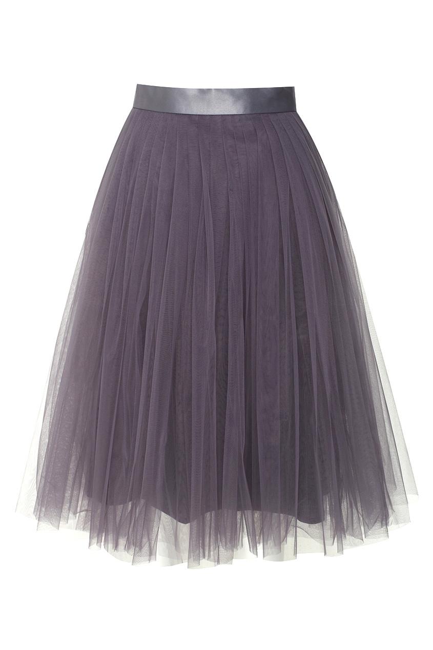 Юбка-миди из сетки фиолетового цвета