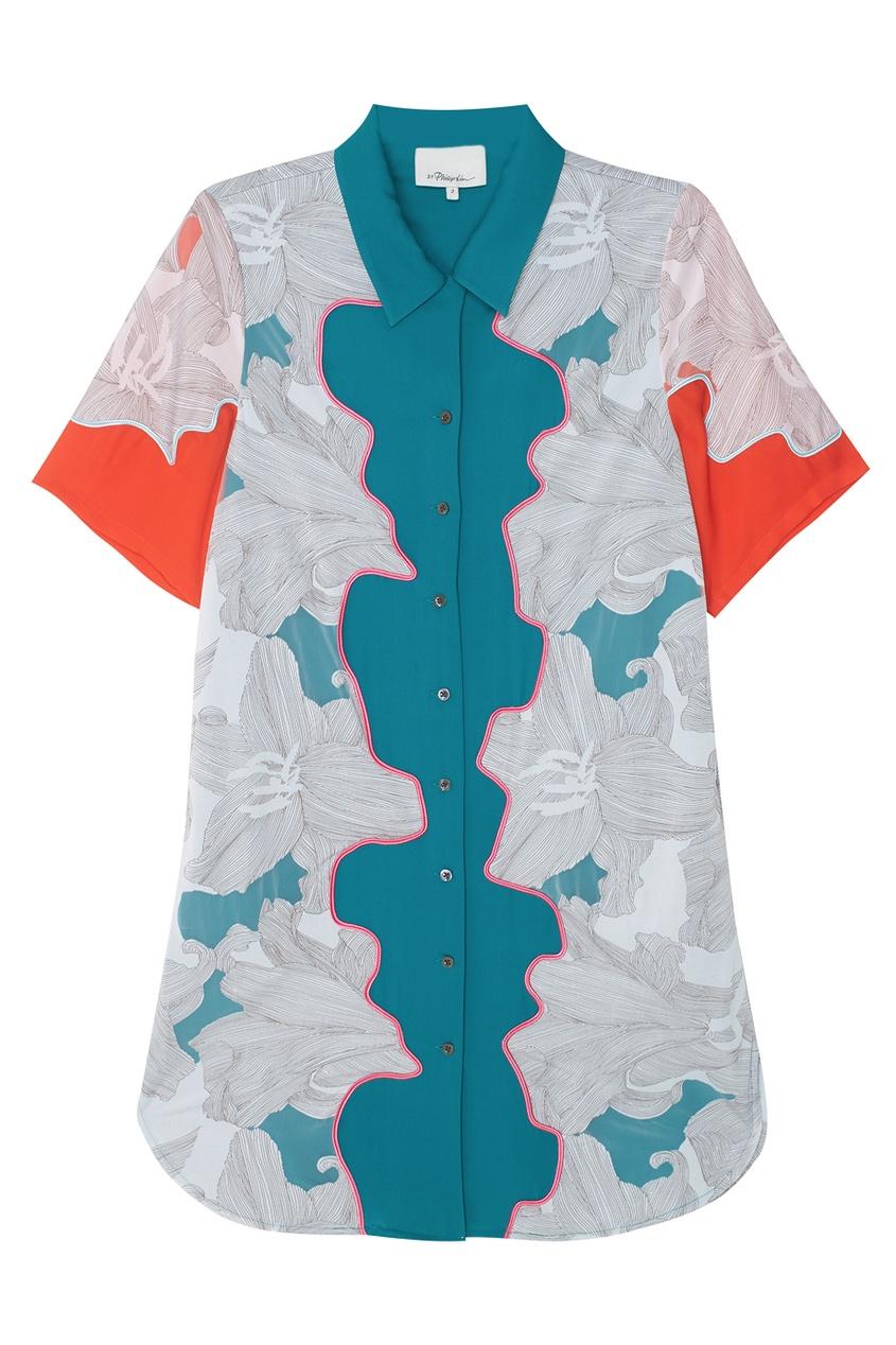 Платье из шелка с аппликацией