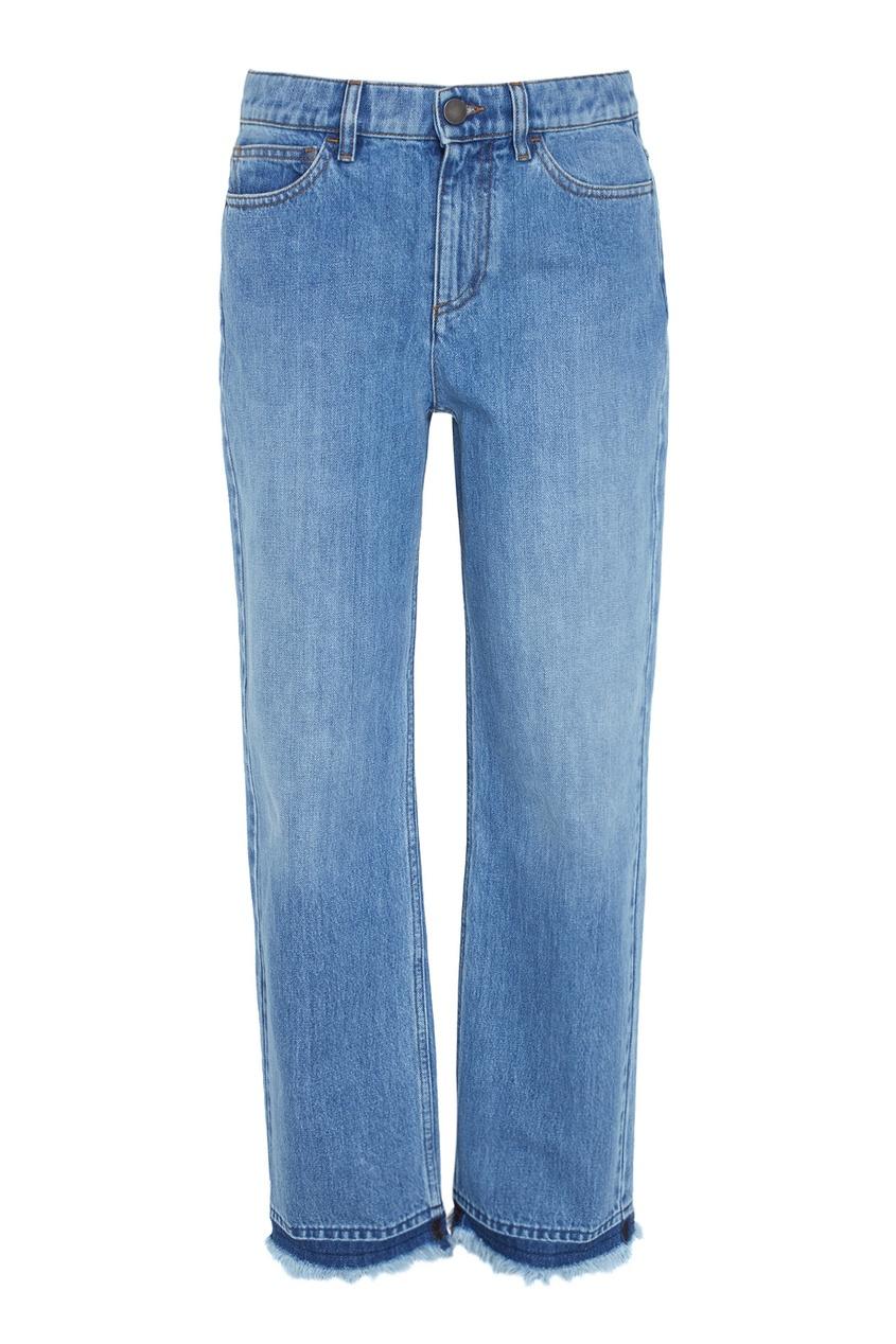 Голубые джинсы с отделкой