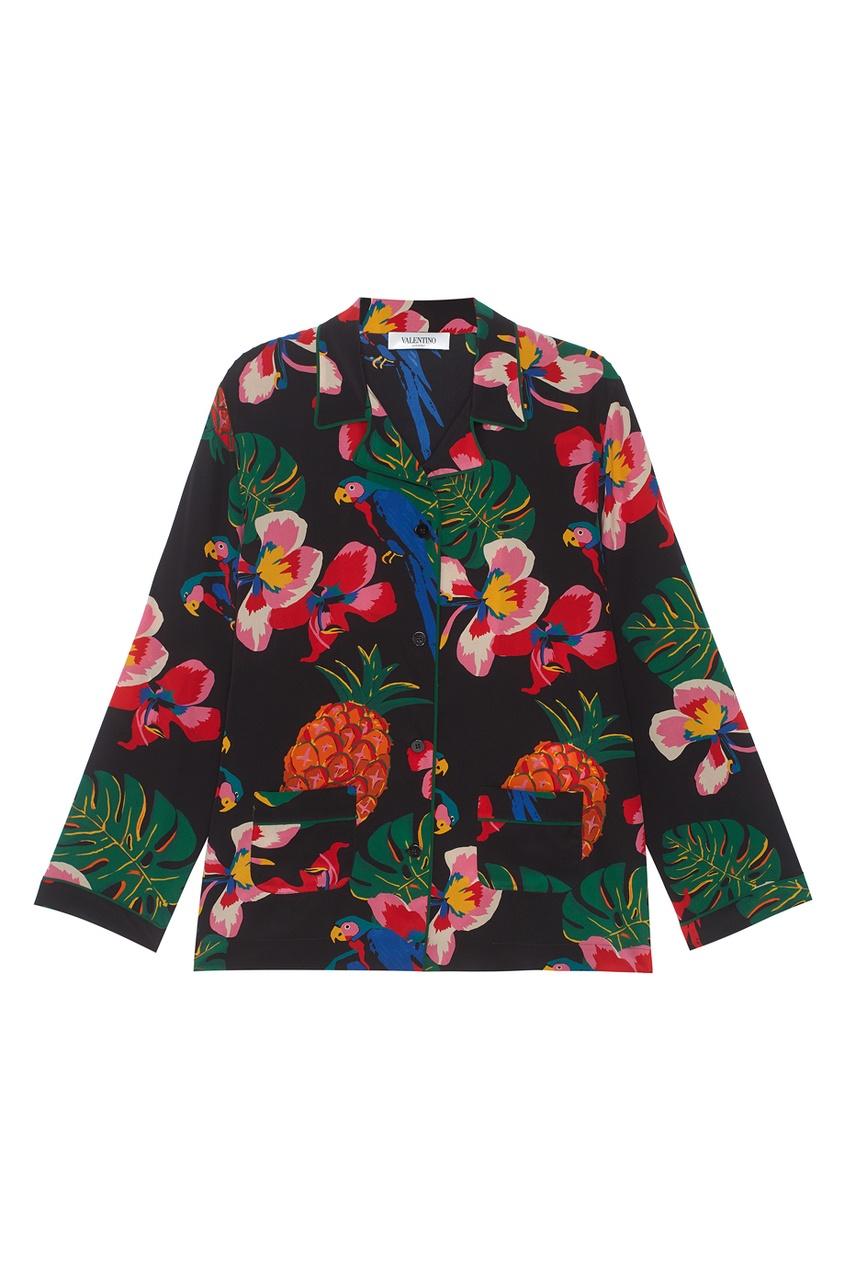 Valentino Шелковая блузка с принтом