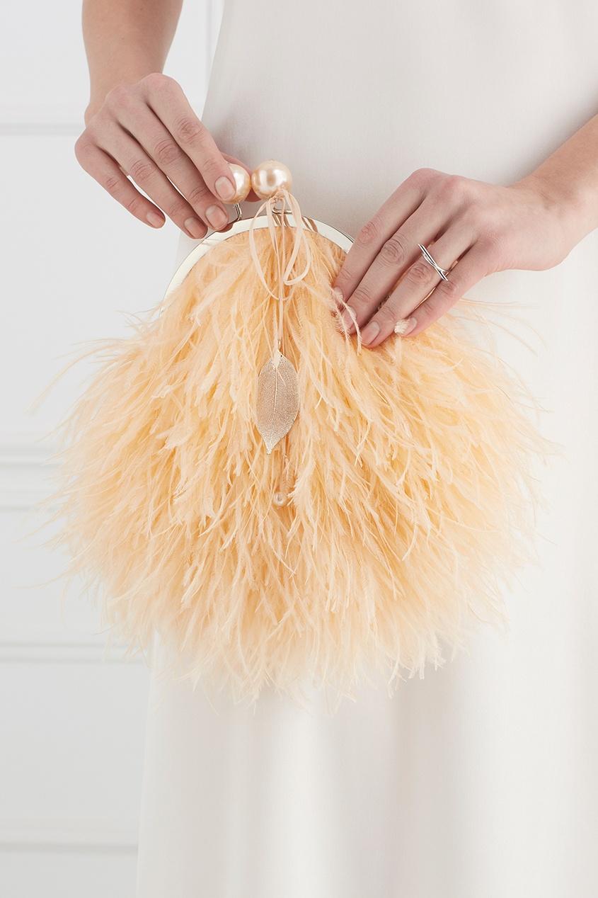 цены на Esve Шелковый клатч с перьями марабу Apricot в интернет-магазинах