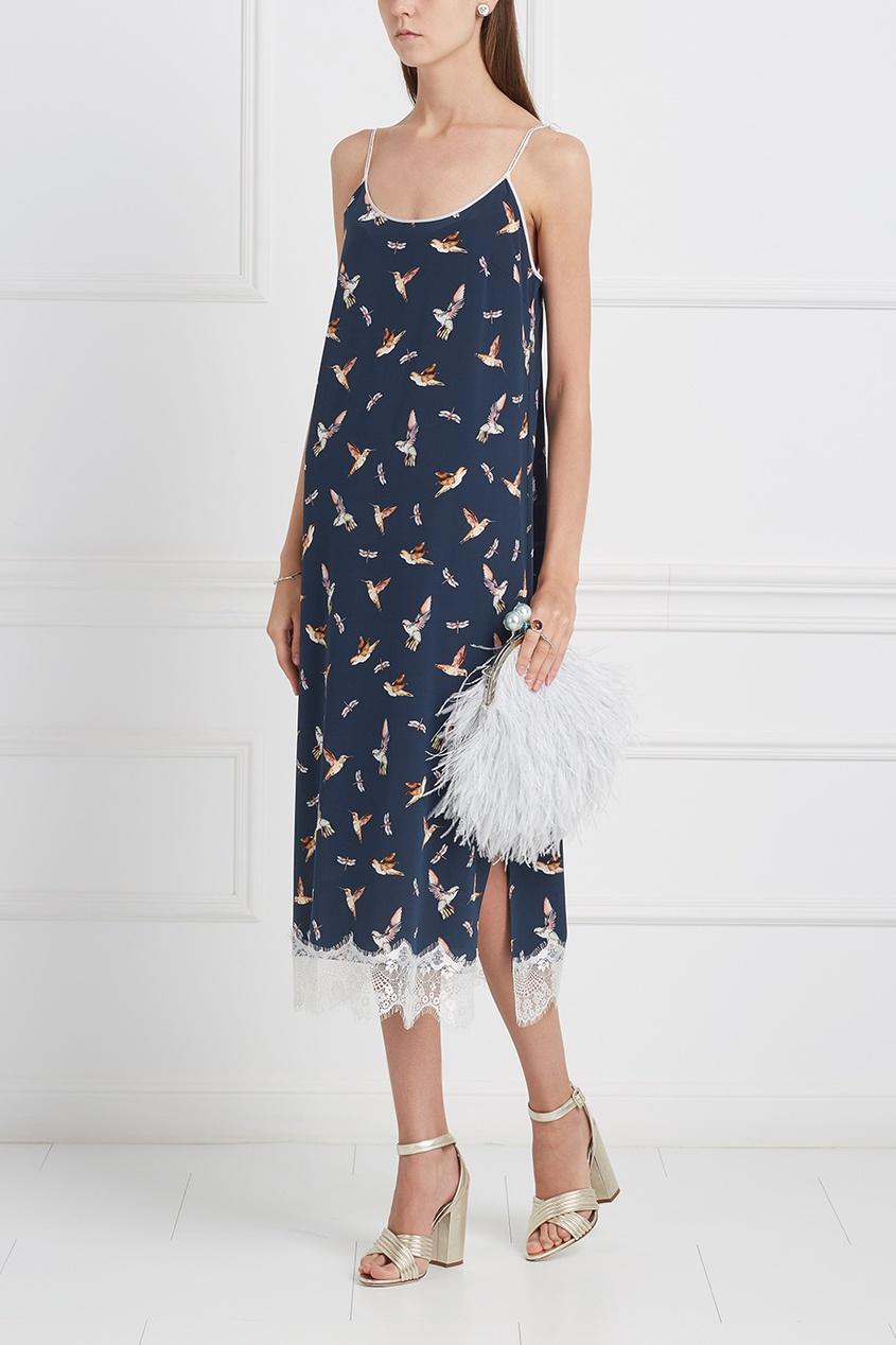 Шелковое платье «Птички