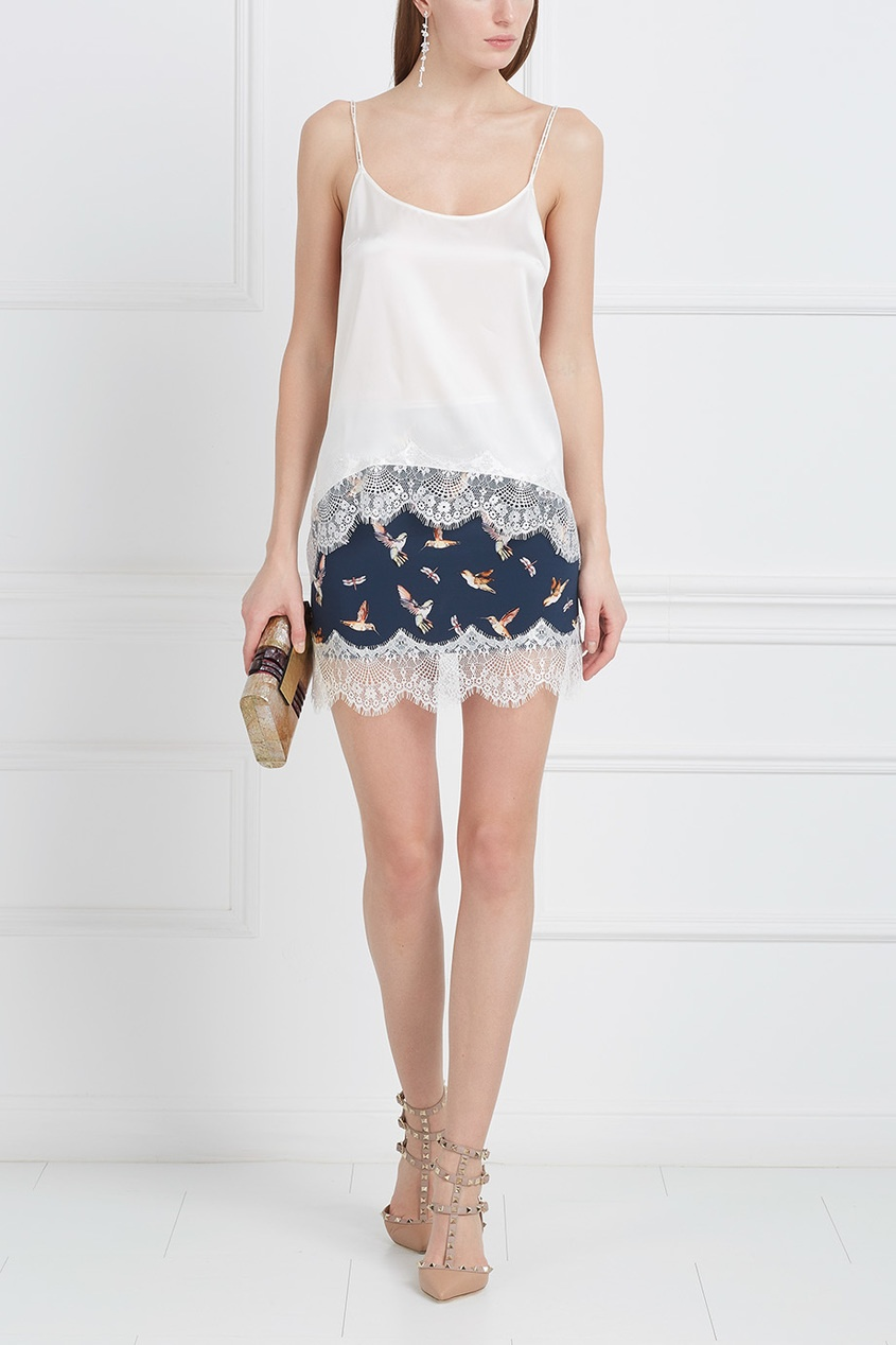 Шелковая юбка с кружевом «Птички»