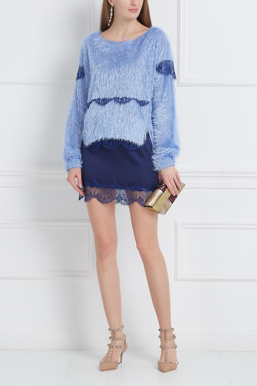 Шелковая юбка с кружевом