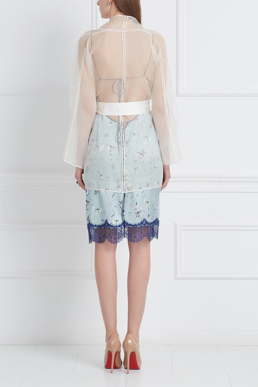 Шелковое платье-комбинация «Птички»