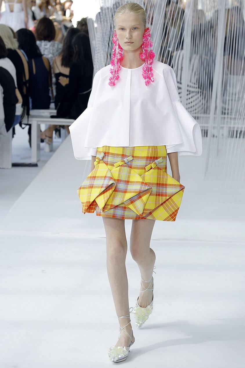 delpozo юбка из хлопка и шелка Delpozo Клетчатая юбка с объемной отделкой