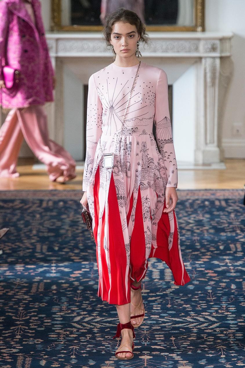цена  Valentino Шелковое платье с комбинированной отделкой  онлайн в 2017 году