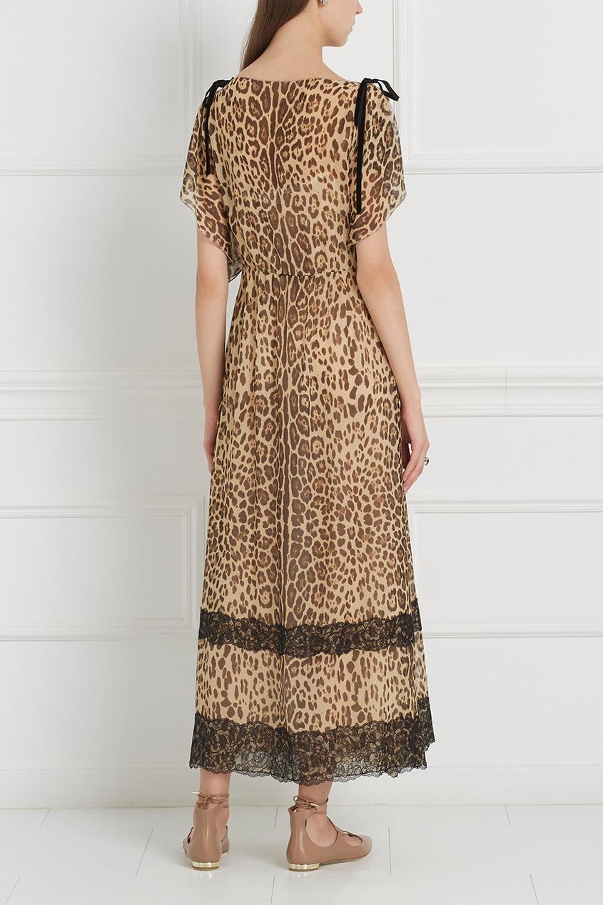 Платье-макси из шелка с леопардовым принтом