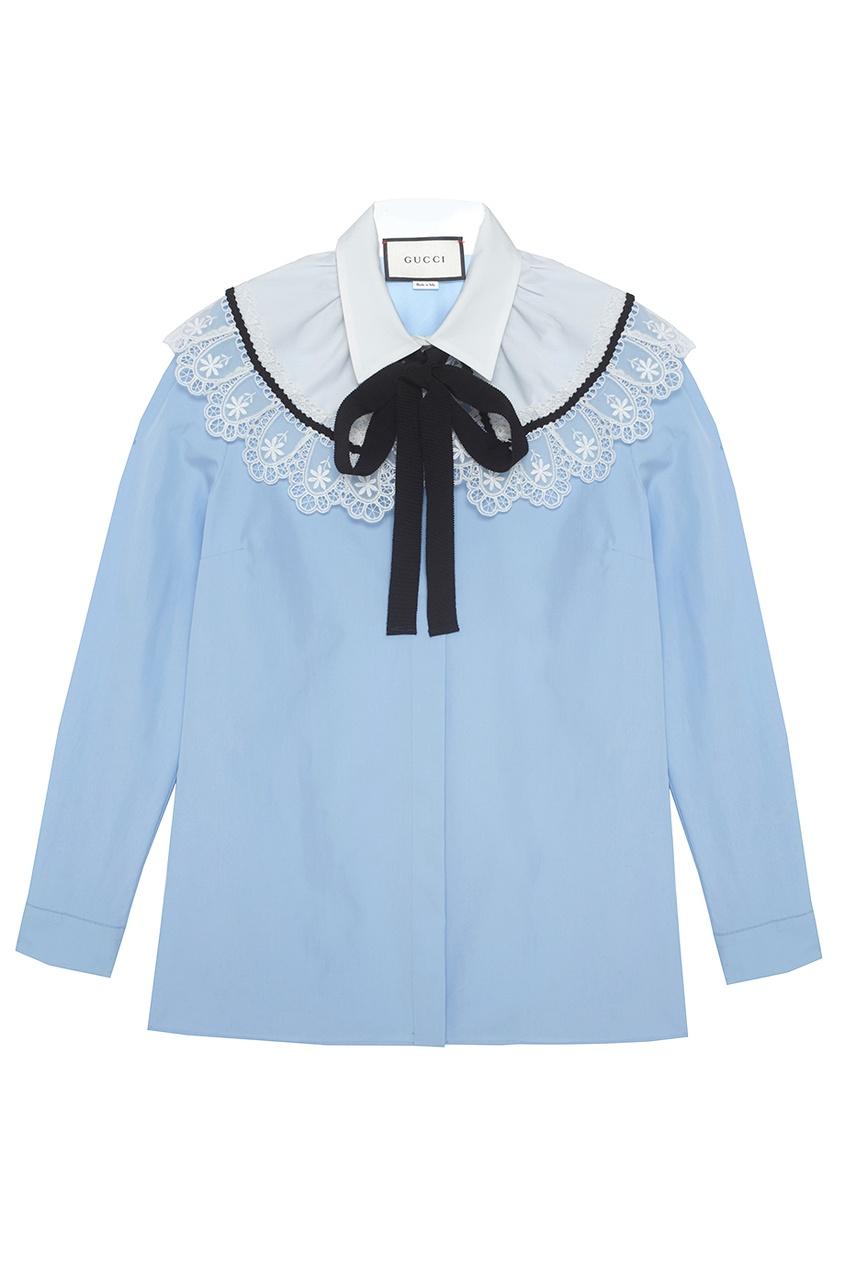 Хлопковая блузка с кружевом