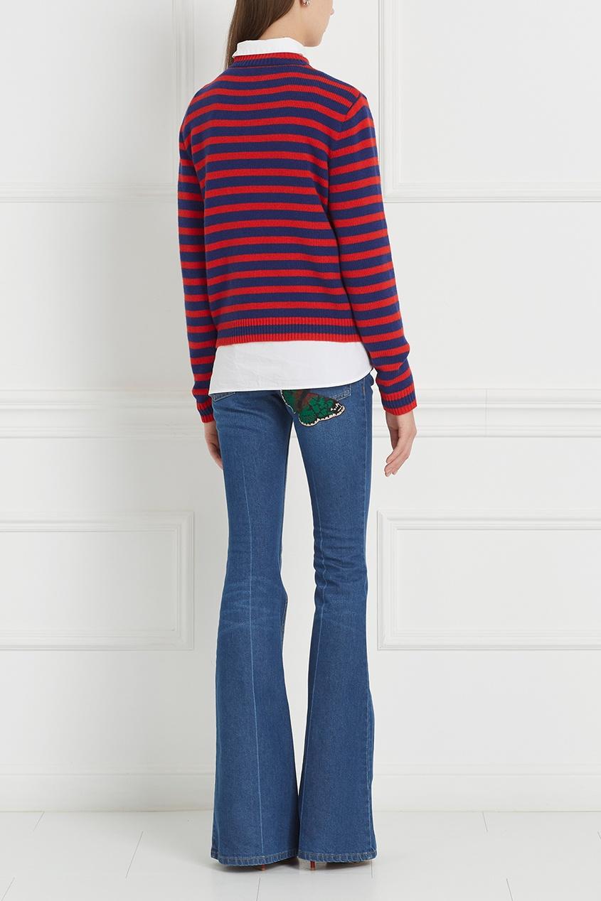 Купить со скидкой Синие расклешенные джинсы с вышивкой