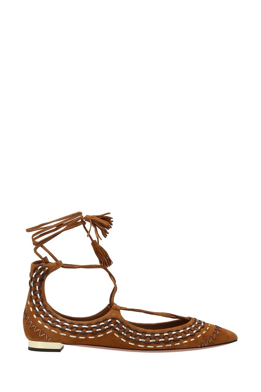 цена  Aquazzura Замшевые туфли Christy Folk Flat  онлайн в 2017 году