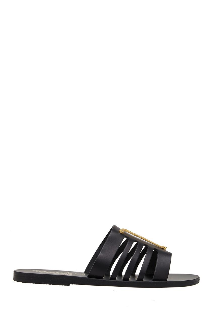 Ancient Greek Sandals Черные сандалии с металлической аппликацией цены онлайн