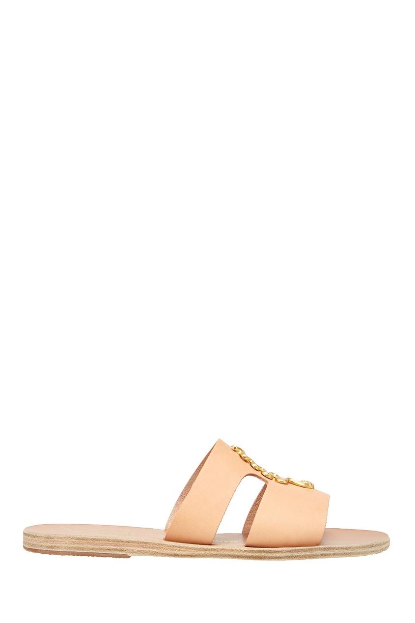 Кожаные сандалии с аппликацией