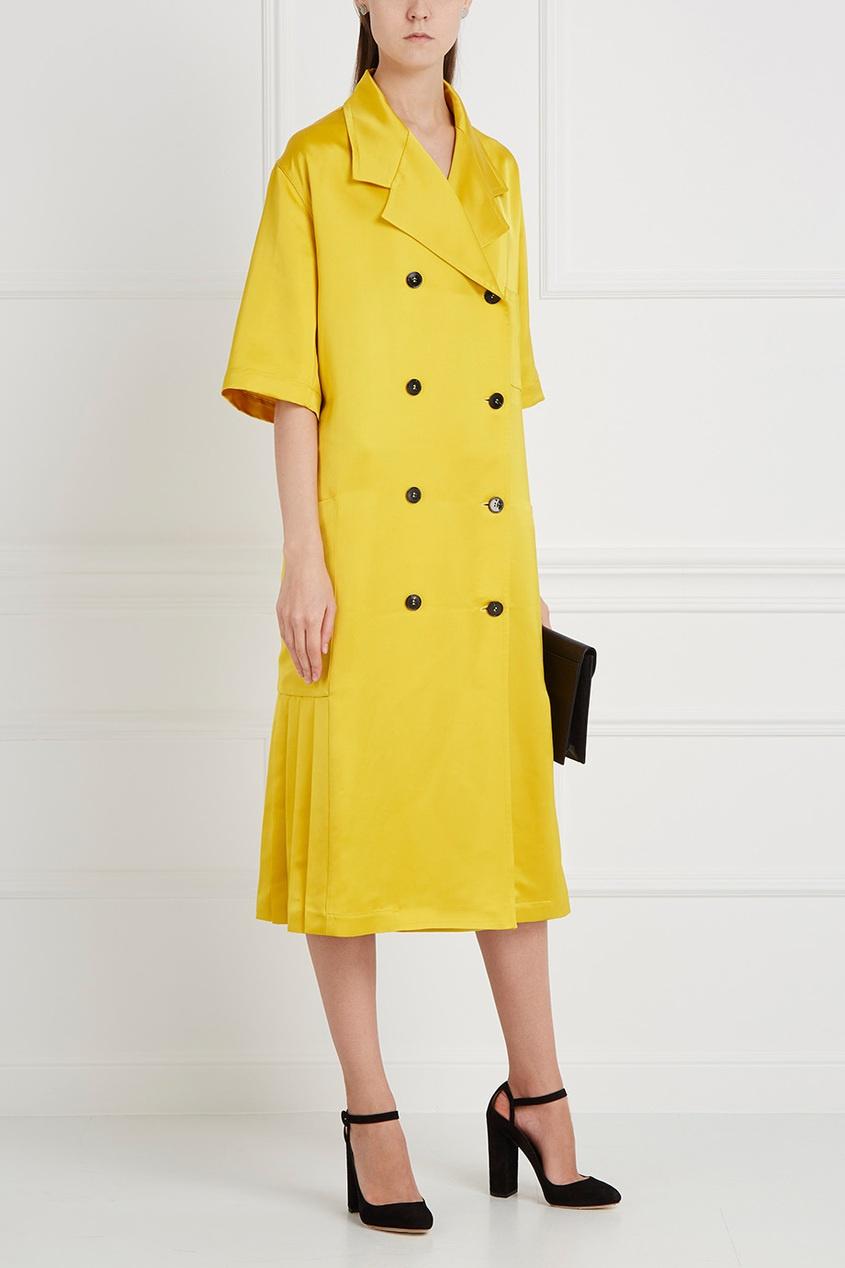 Двубортное пальто с короткими рукавами