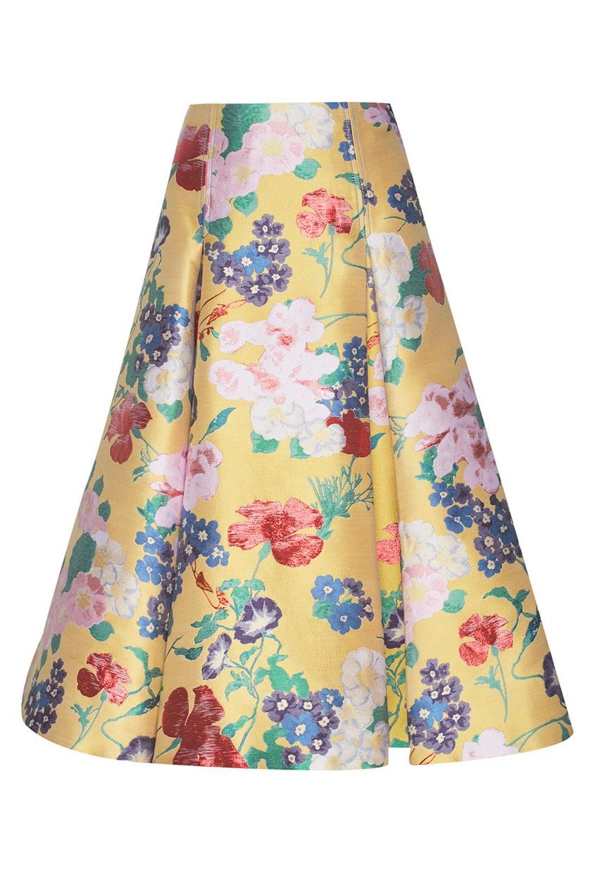 Юбка из шелка с цветами VALENTINO