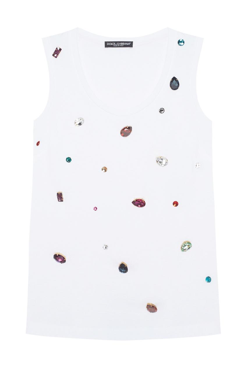 Dolce&Gabbana Хлопковый топ с кристаллами