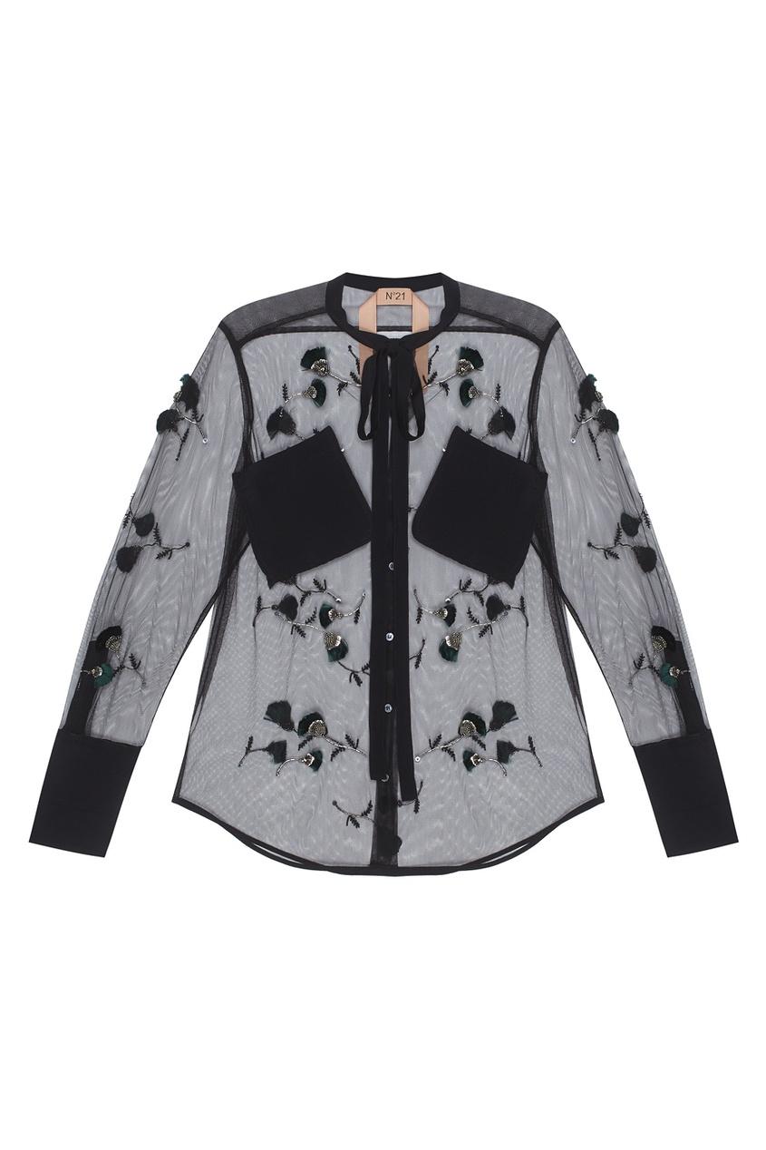 Полупрозрачная блузка со стеклярусом