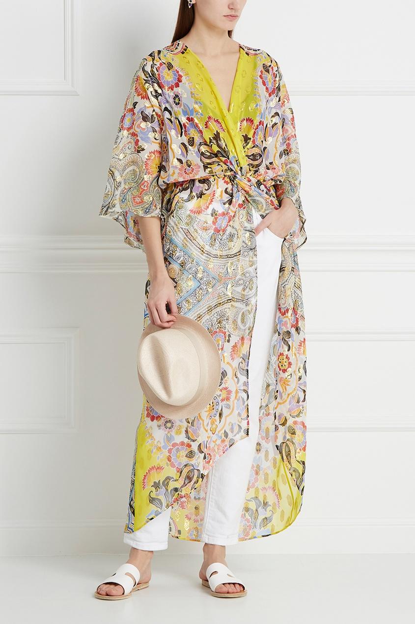 Etro Шелковое платье с люрексом