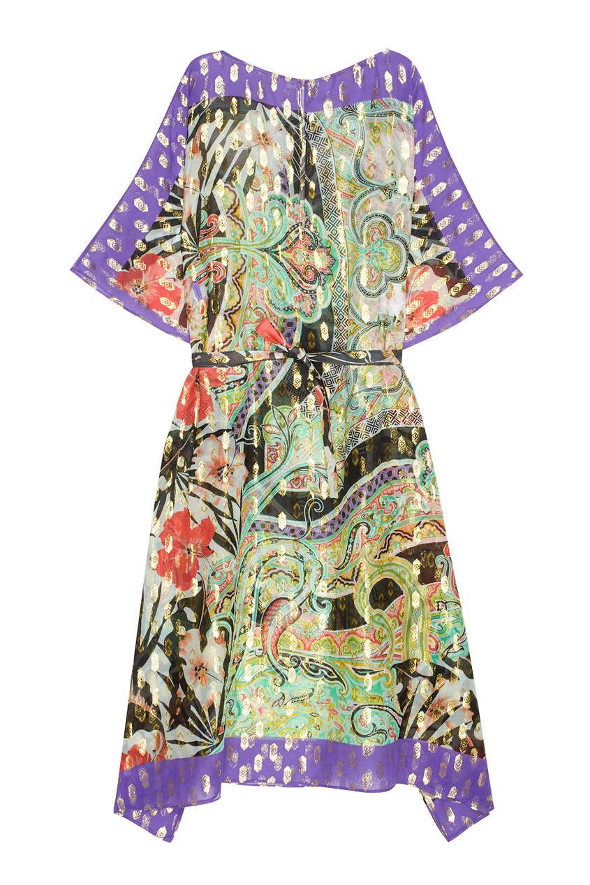Шелковое платье с люрексом
