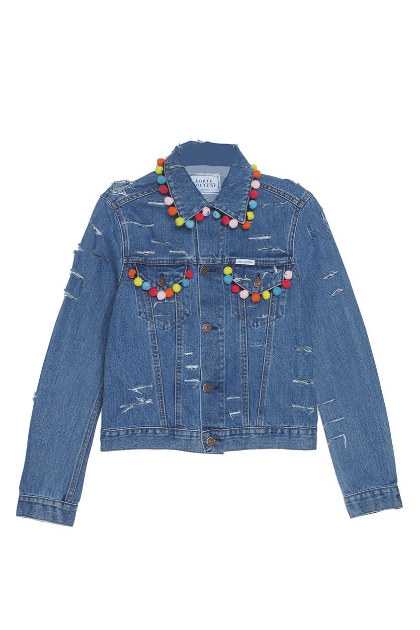 Forte Couture Джинсовая куртка с помпонами ботинки блестящие с помпонами 19 24