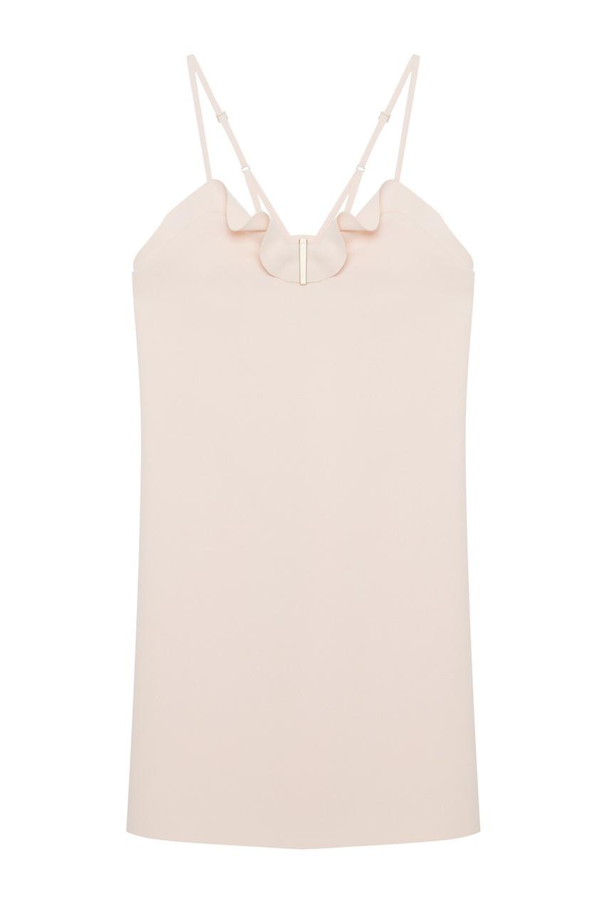 Нюдовое платье с отделкой