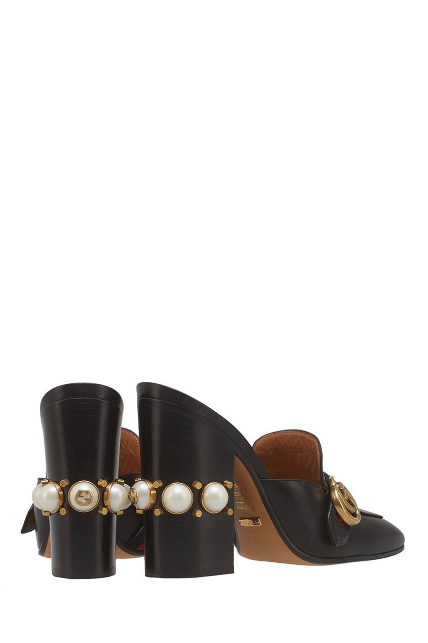 Кожаные туфли-мюли