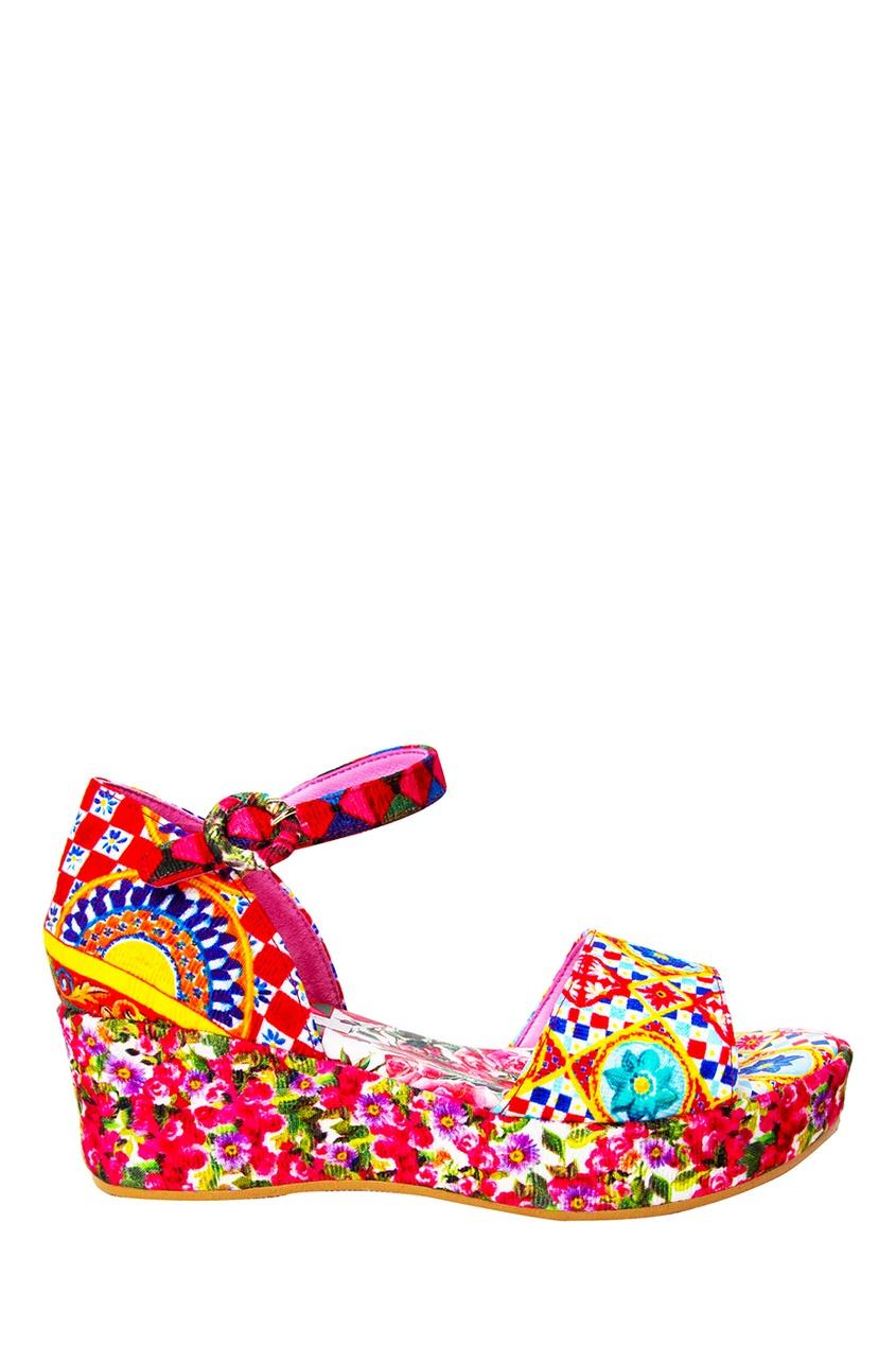 Dolce&Gabbana Children Босоножки текстильные с принтом цены онлайн