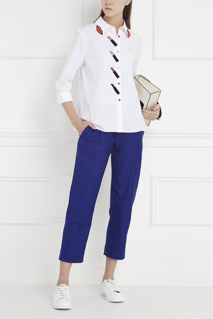 Шелковые брюки с контрастным поясом