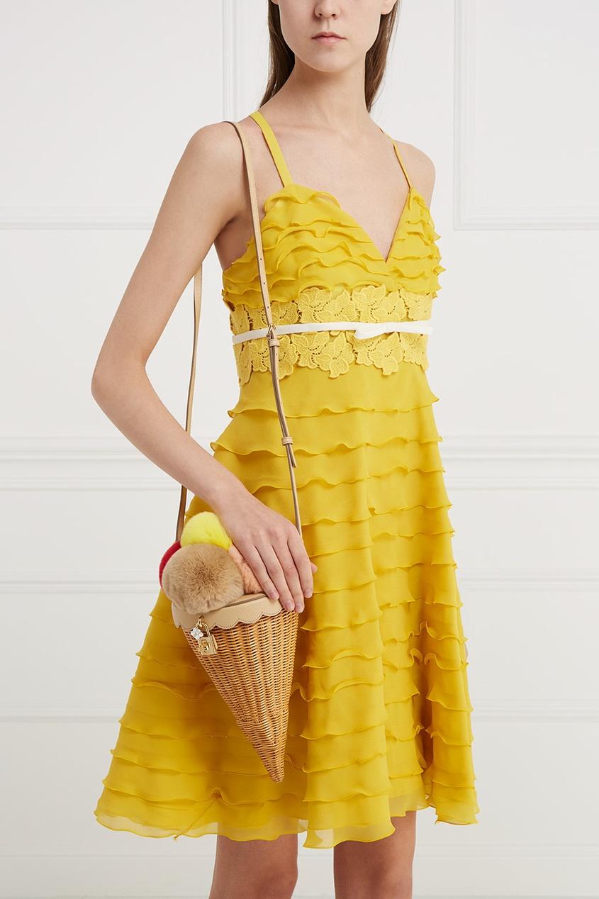Dolce&Gabbana Кожаная сумка с мехом кролика