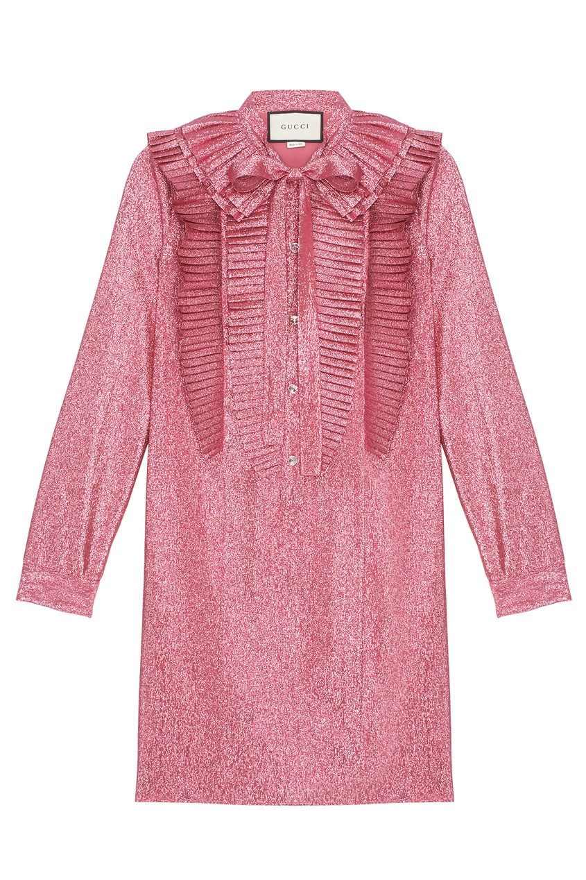 Gucci Платье с плиссировкой gucci слиперы из металлизированной кожи