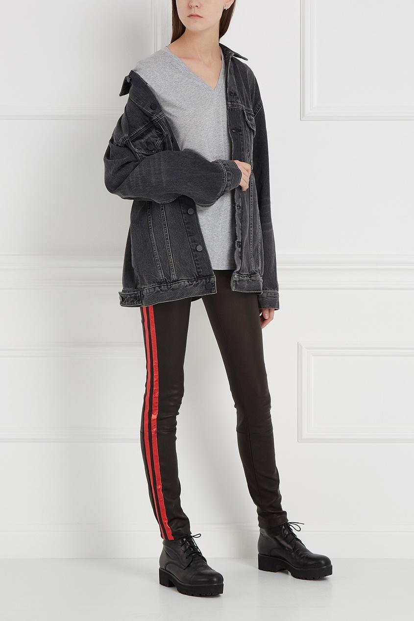 Кожаные брюки с лампасами