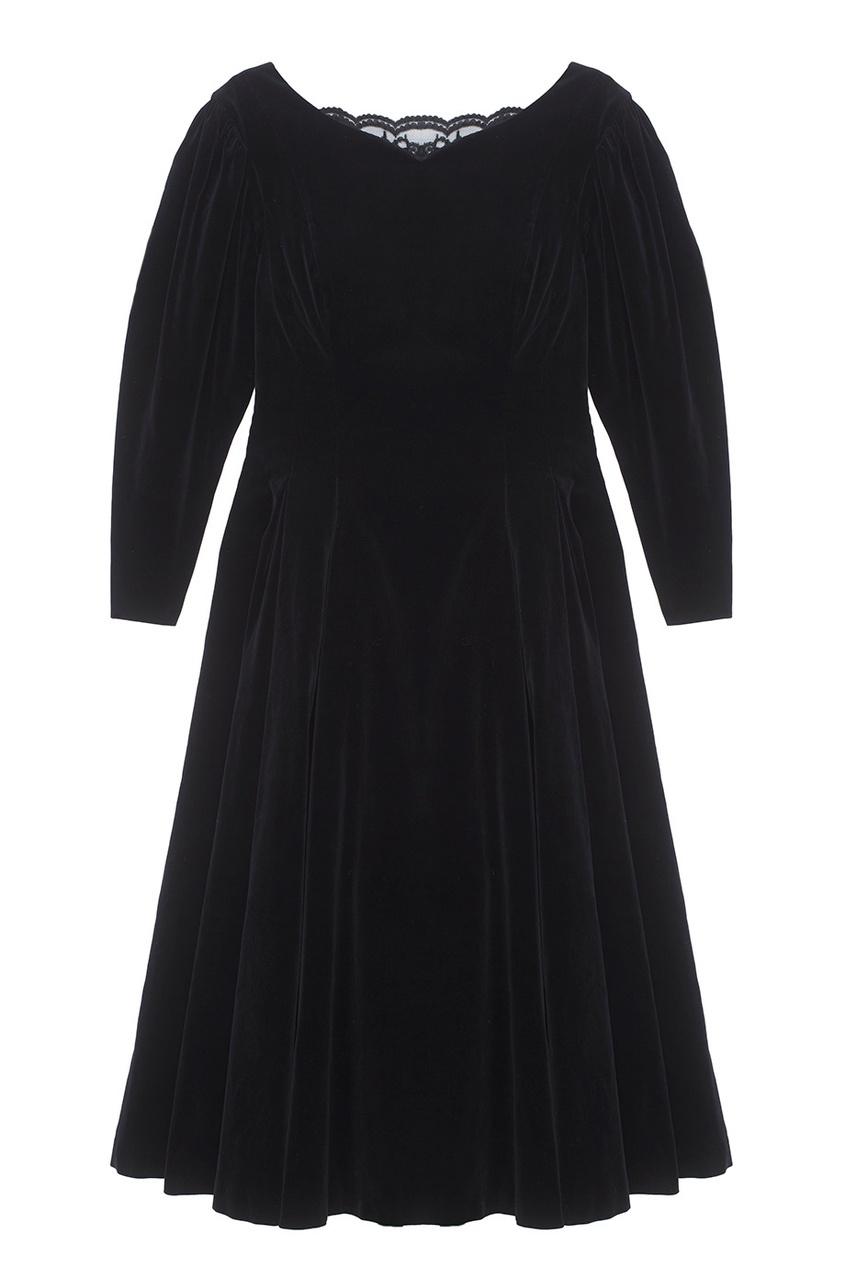 Laura Ashley Vintage Бархатное платье с кружевом (1980-90-е) laura ashley vintage платье 1980 1990 е