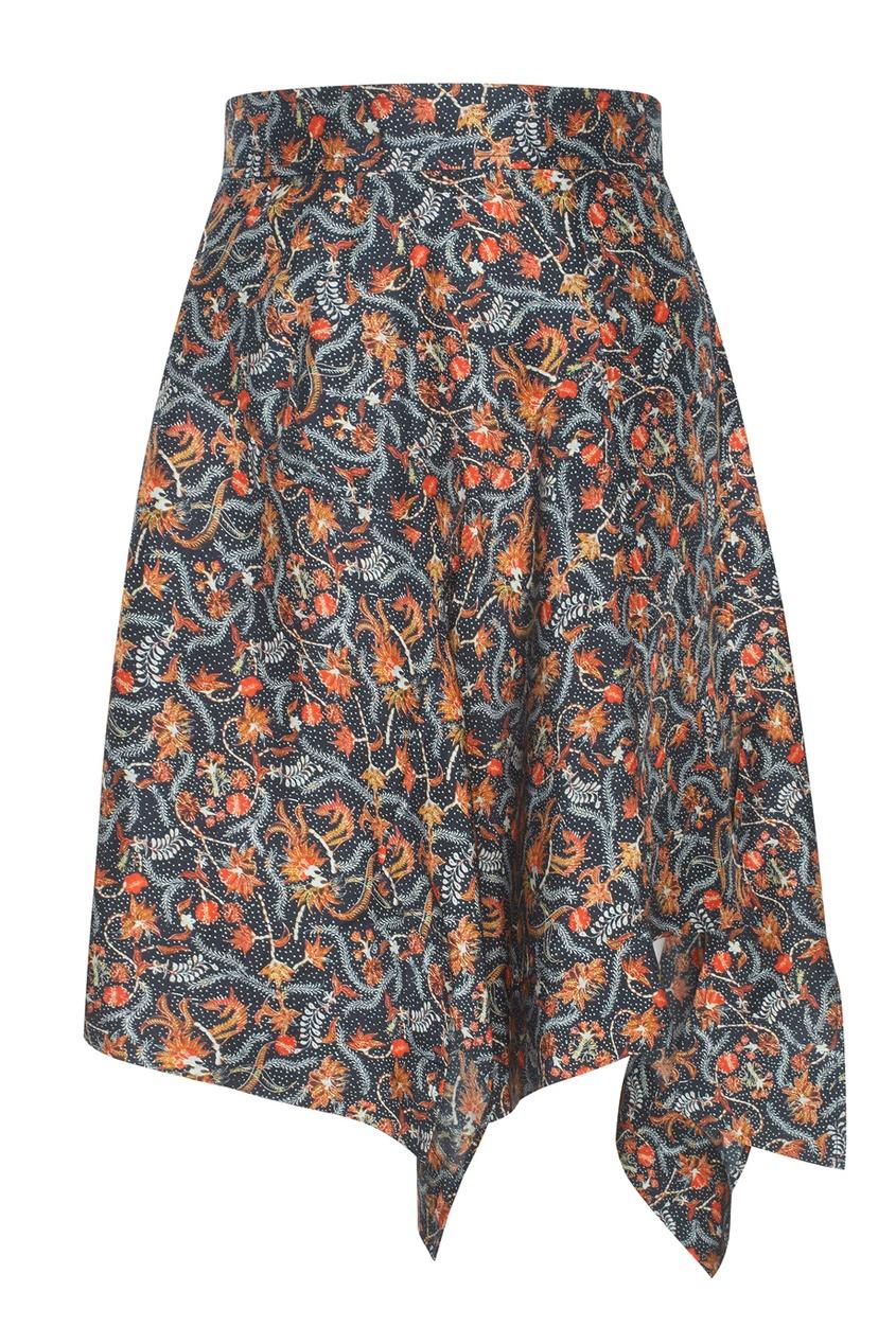 Шелковая юбка с цветочным узором