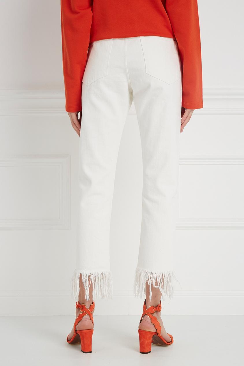 3х1 Белые джинсы с бахромой