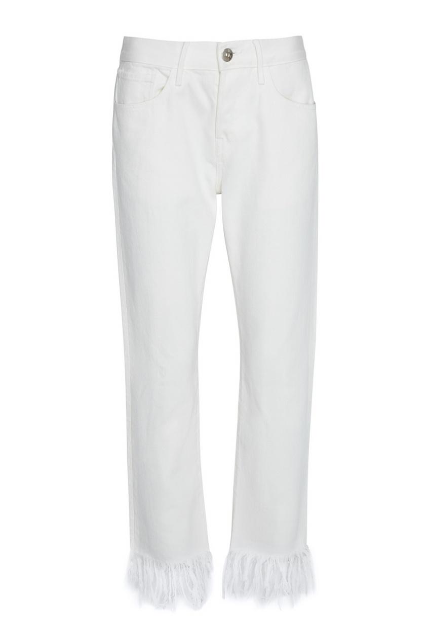 Белые джинсы с бахромой