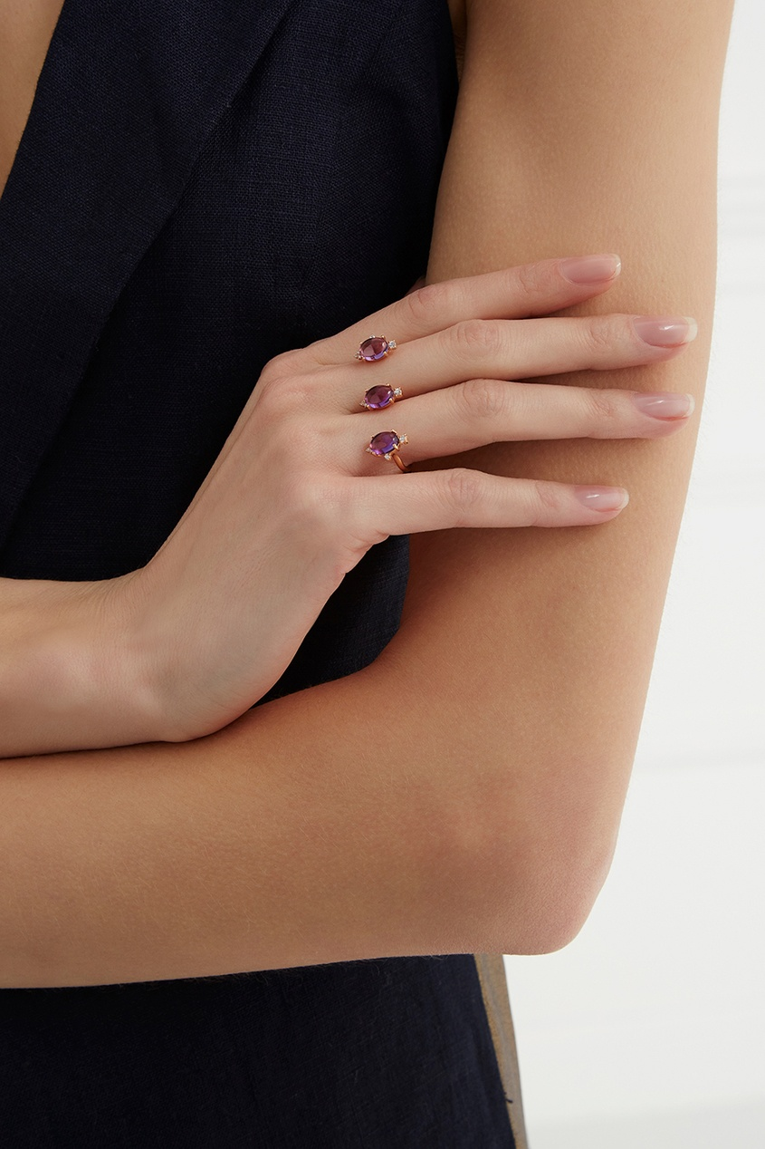 Moonka Studio Позолоченное кольцо с аметистами