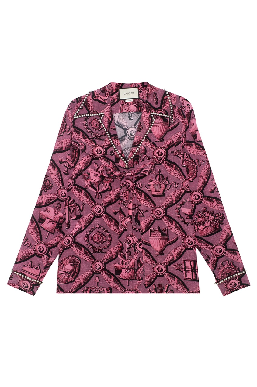 Gucci Шелковая блузка gucci розовая блузка oversize