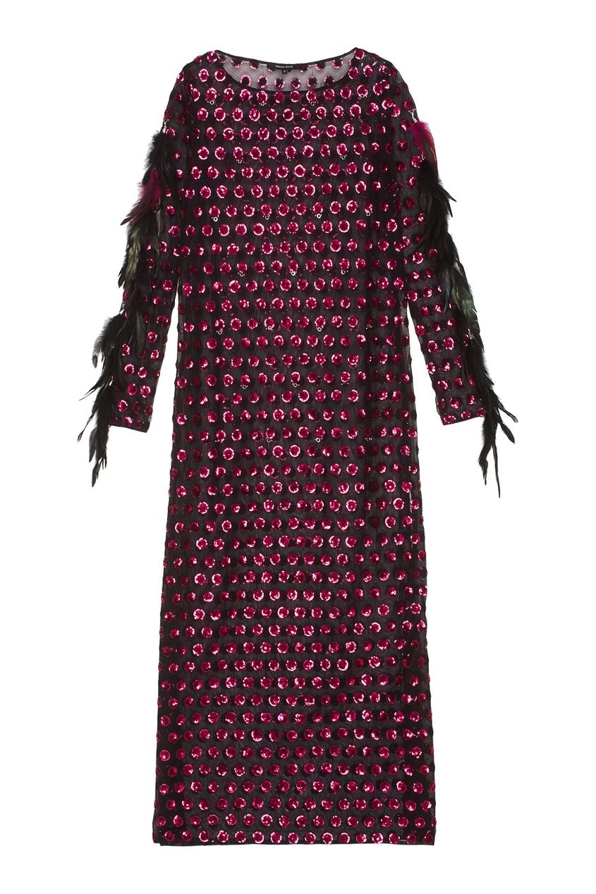 Esve Платье с пайетками и перьями esve платье с пайетками