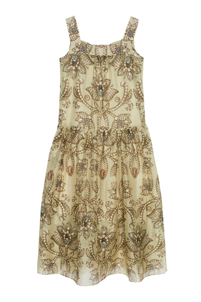 Платье из шелка и льна