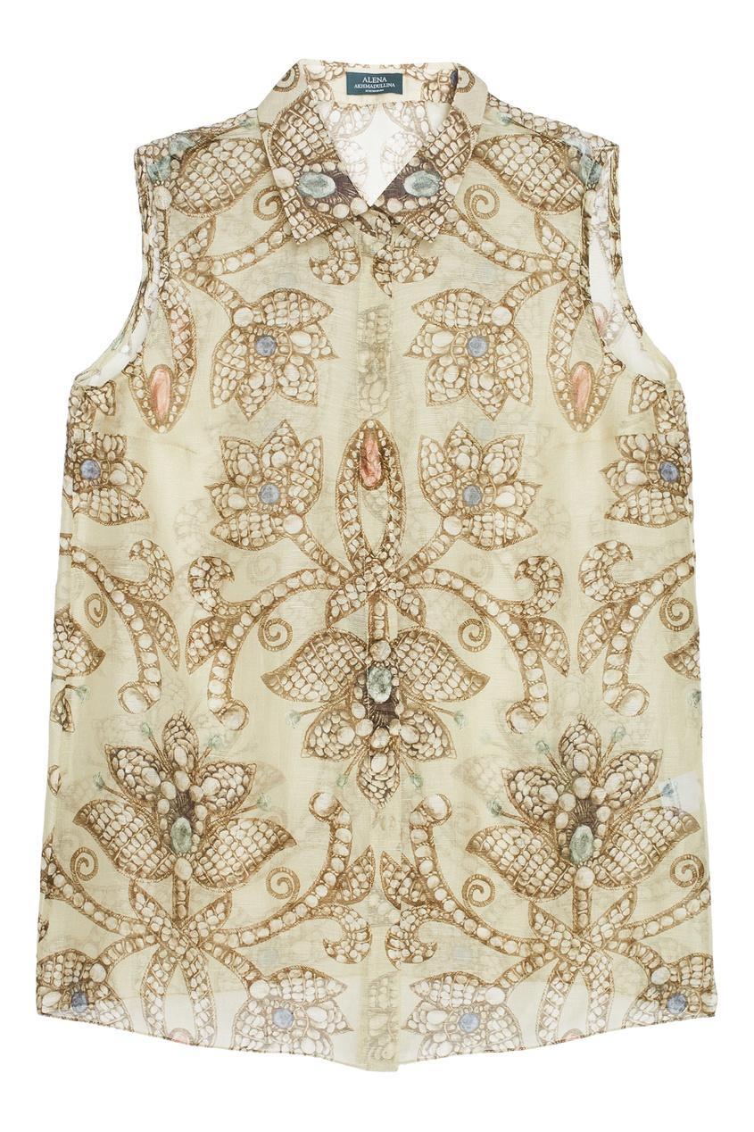 Блузка из шелка и льна
