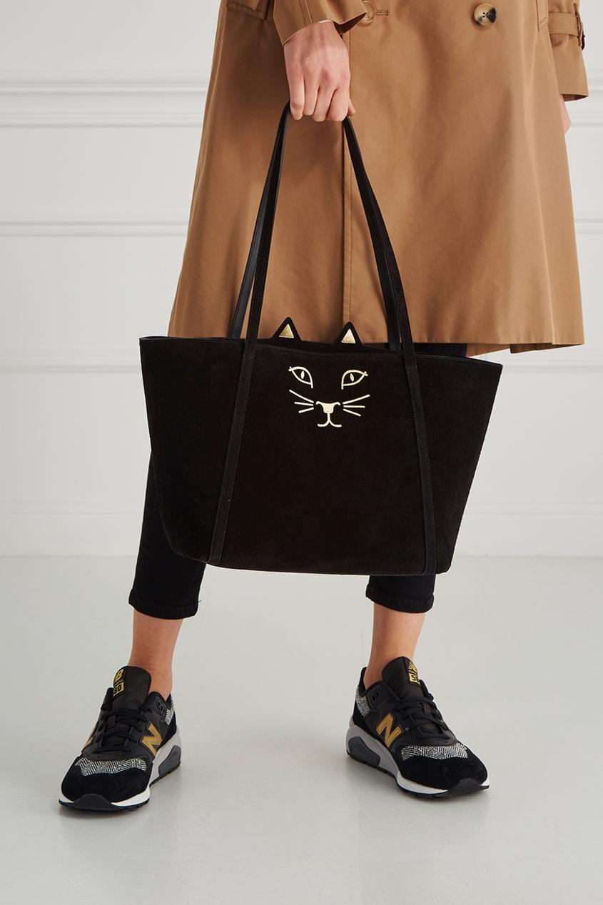 Замшевая сумка-шопер Mini Feline Shopper