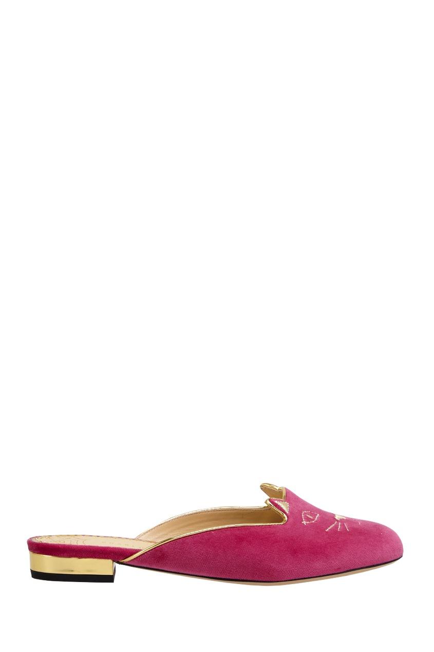 Charlotte Olympia Велюровые слиперы Kitty Slipper charlotte olympia балетки pretty in pink kitty