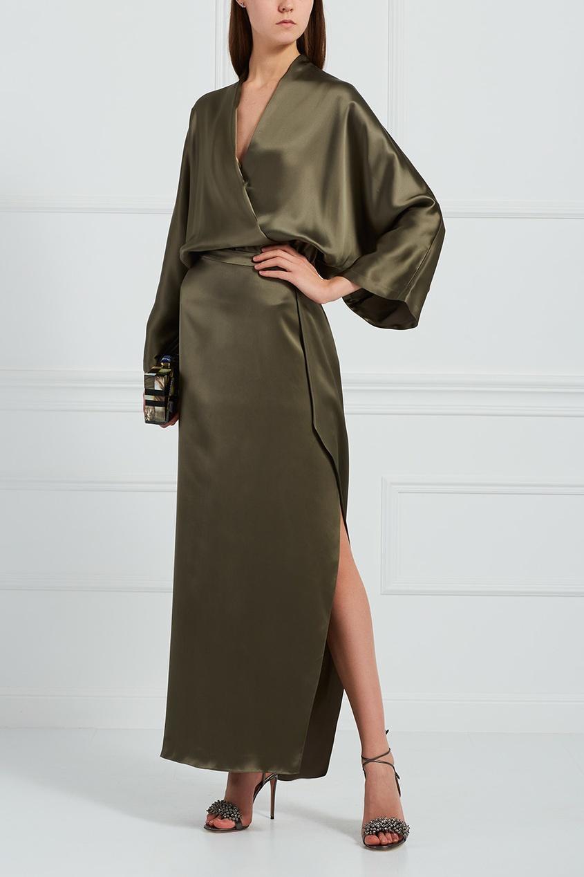 Однотонное платье