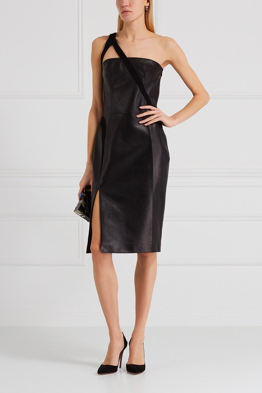 Mugler Кожаное платье