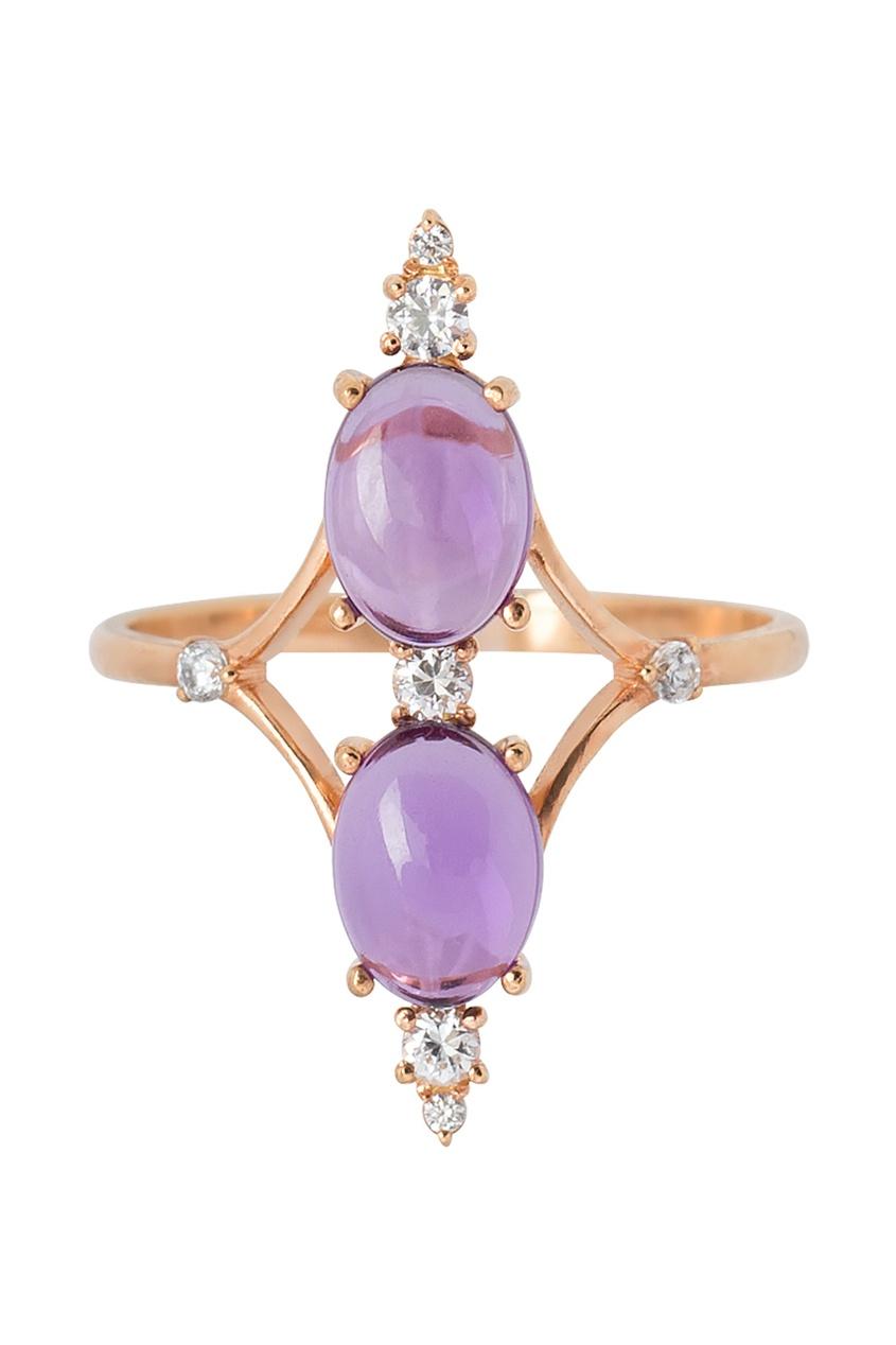 Позолоченное кольцо с аметистами