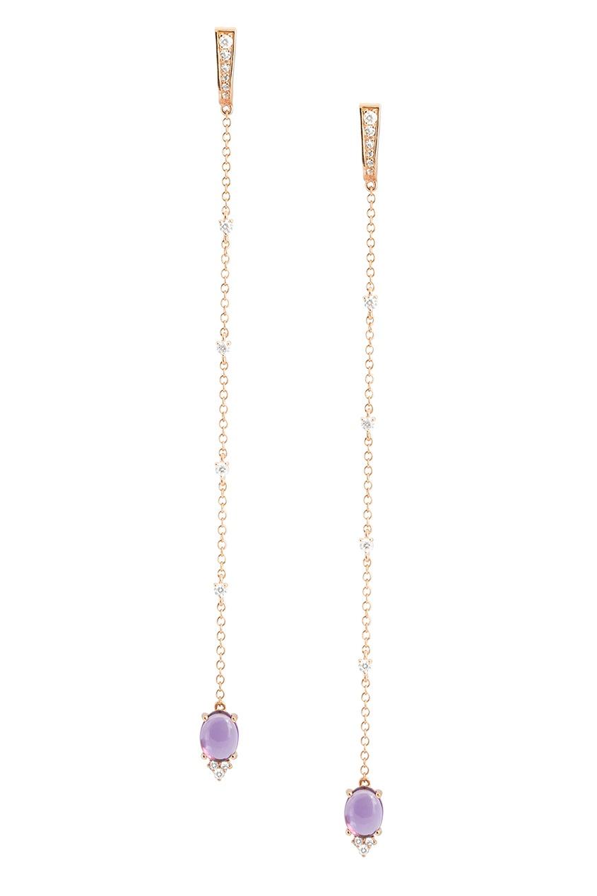 Moonka Studio Позолоченные серьги с аметистами серьги с подвесками jv серебряные серьги с ониксами куб циркониями и позолотой or 3644 a ox 001 pink