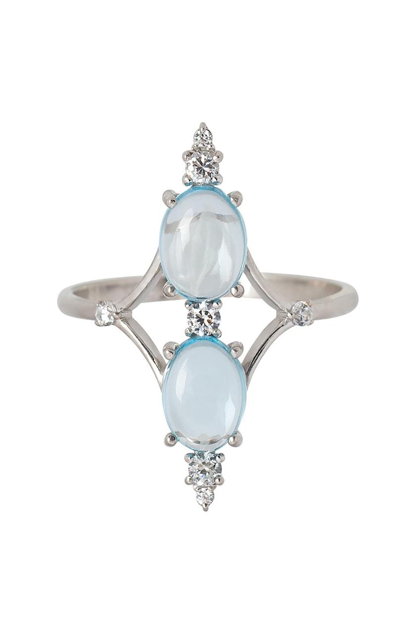 Moonka Studio Серебряное кольцо с топазами женские кольца jv женское серебряное кольцо с синт аметистом в позолоте 30 014 510 030 gams yg 18