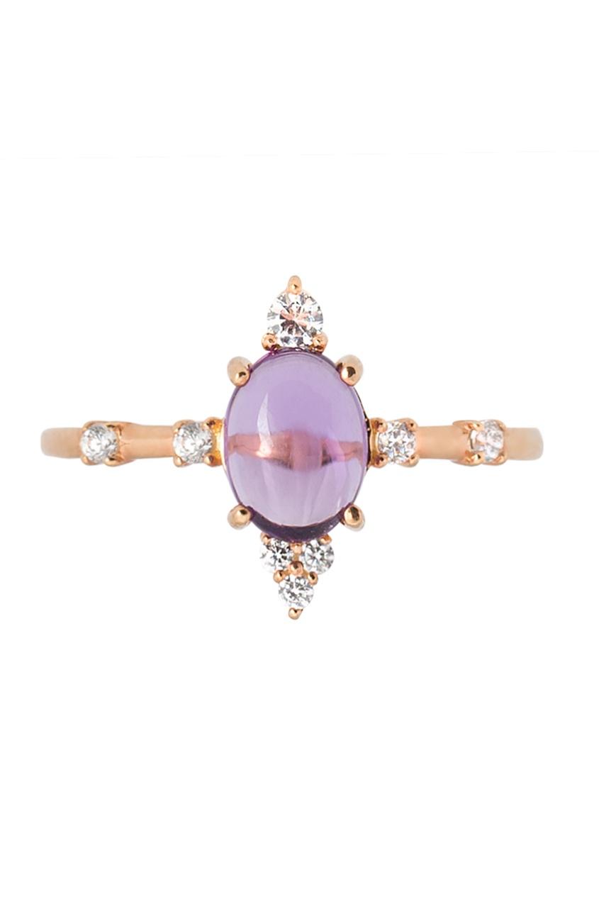 Moonka Studio Позолоченное кольцо с аметистом женские кольца jv женское серебряное кольцо с синт аметистом в позолоте 30 014 510 030 gams yg 18