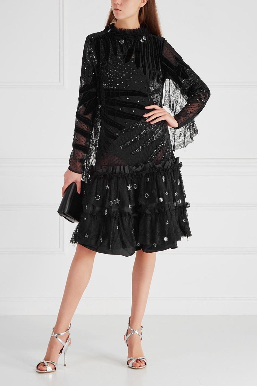 Платье с комбинированной отделкой