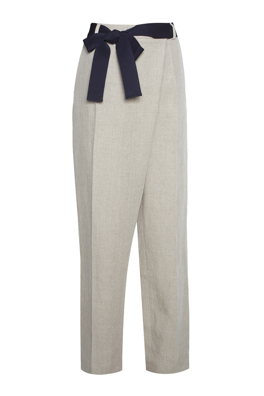 Льняные брюки с бантом